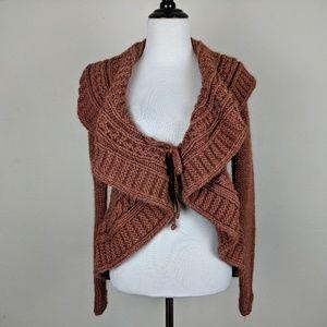 Elsamanda Dusty Rose Ruffle Cardigan Sweater